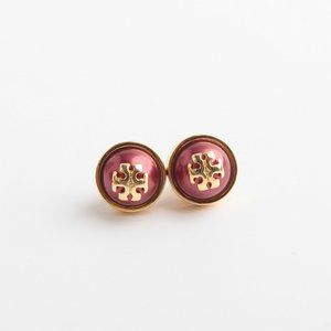 Tory Burch Logo Pearl Stud Red Earrings